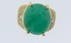 Lady's Jadeite Jade Diamond Ring