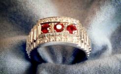 Gent's Rolex Link Diamond Ruby Ring