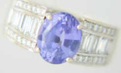 Lady's Blue Sapphire Diamond Ring