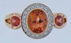 Phillip Zahm Orange Sapphire Diamond Ring