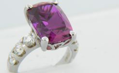 Synthetic Pink Sapphire Diamond Ring
